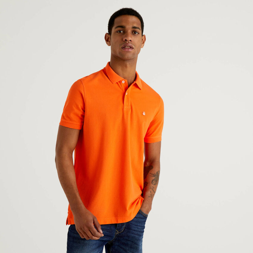 Orange regular fit polo