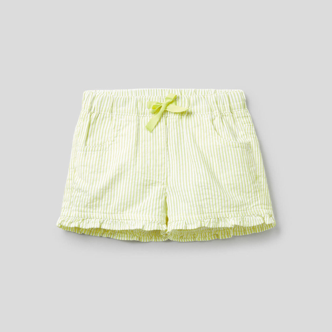 100% cotton yellow striped shorts