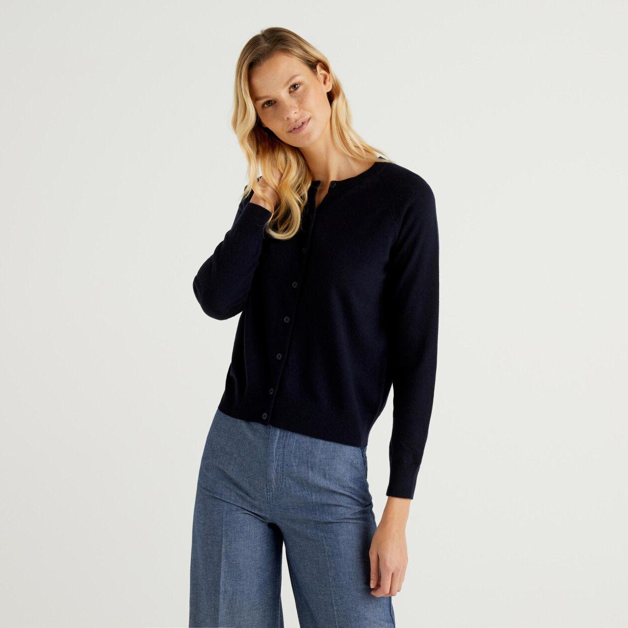 Dark blue crew neck cardigan in cashmere and wool blend