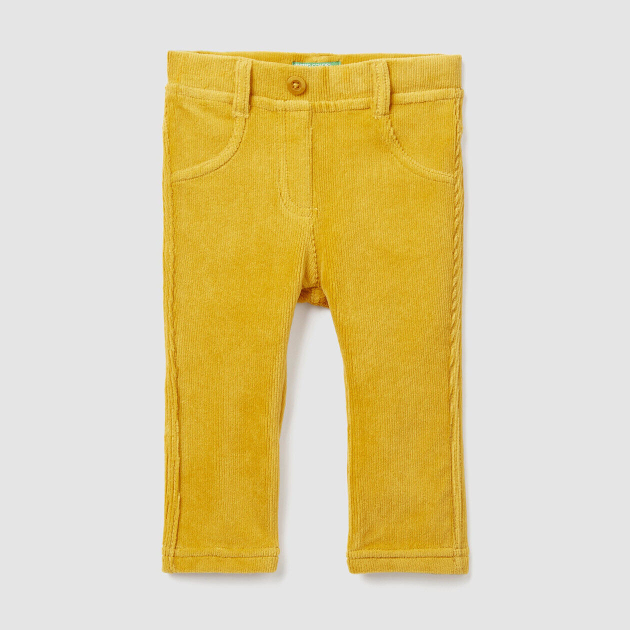 Stretch ribbed knit trousers