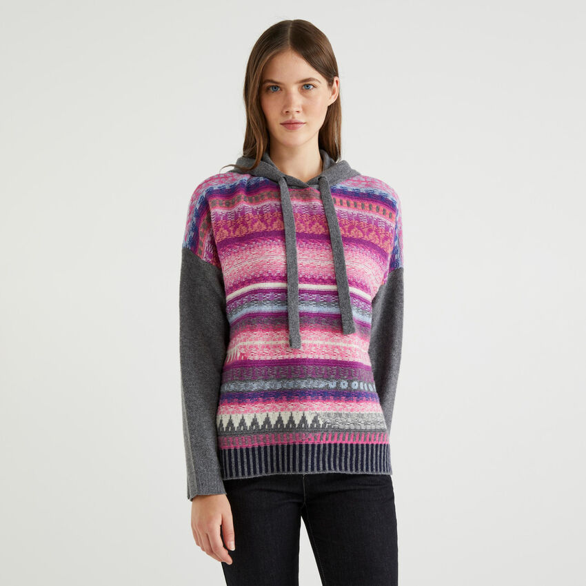 Jacquard sweater with hood