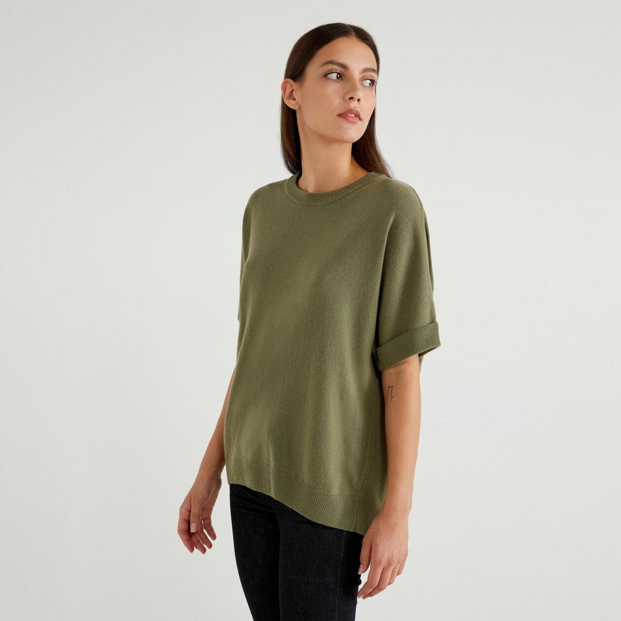 Short sleeve sweater in wool blend