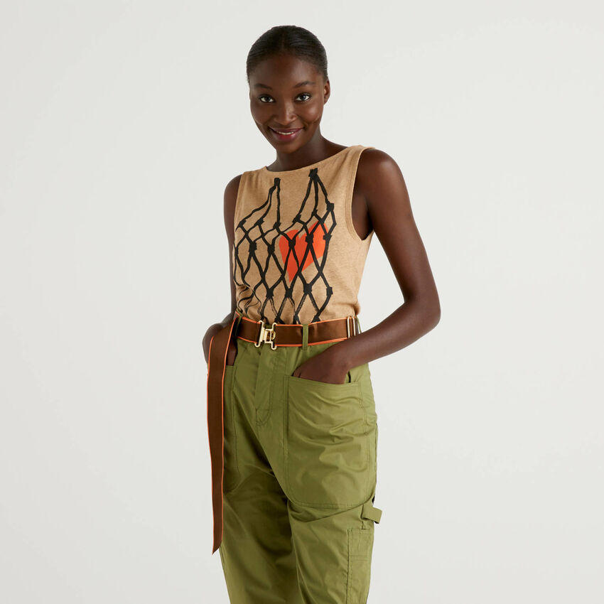 Printed tank top in cotton linen blend