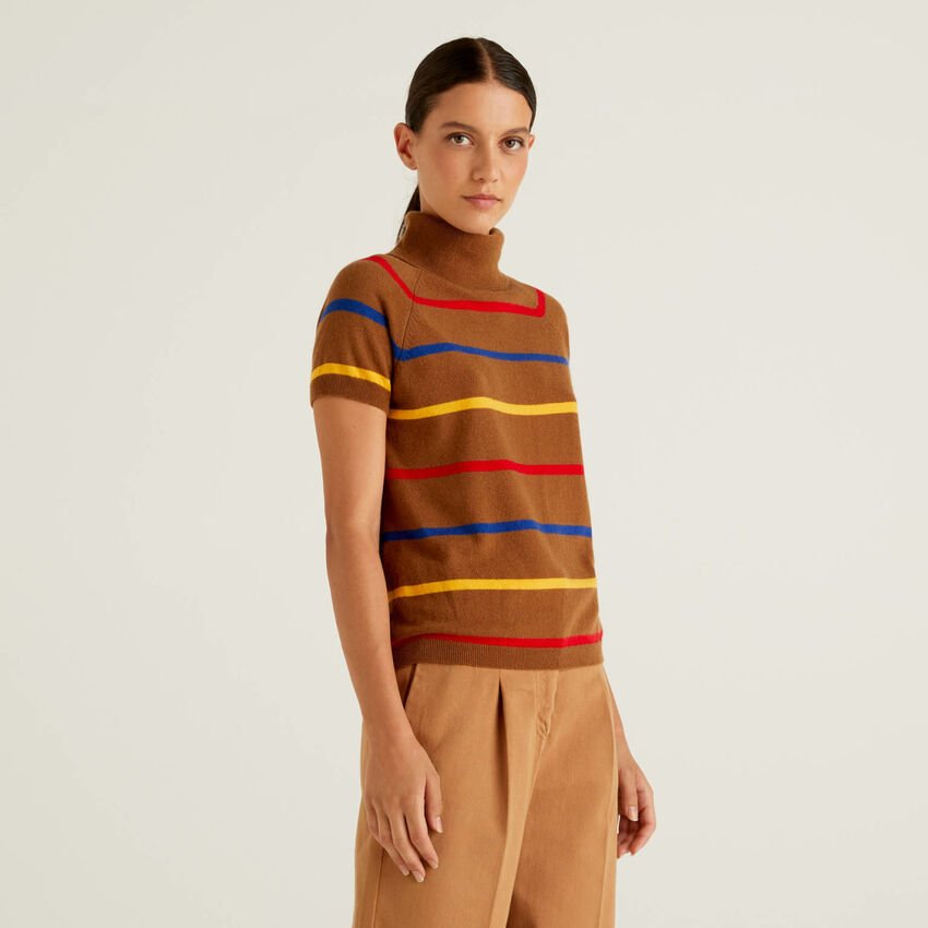 Brown striped turtleneck in cashmere and wool blend