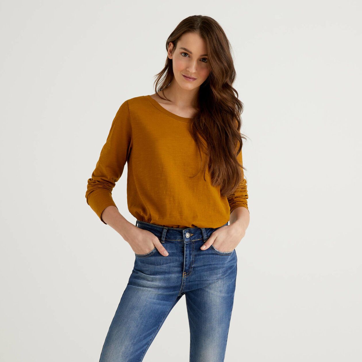 Long sleeve pure cotton t-shirt