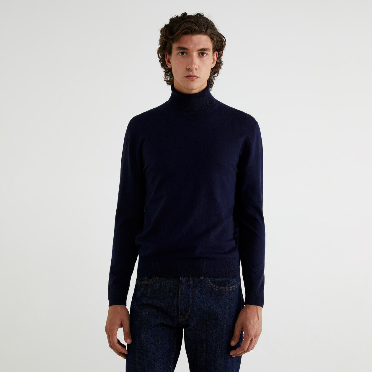 Tricot cotton turtleneck