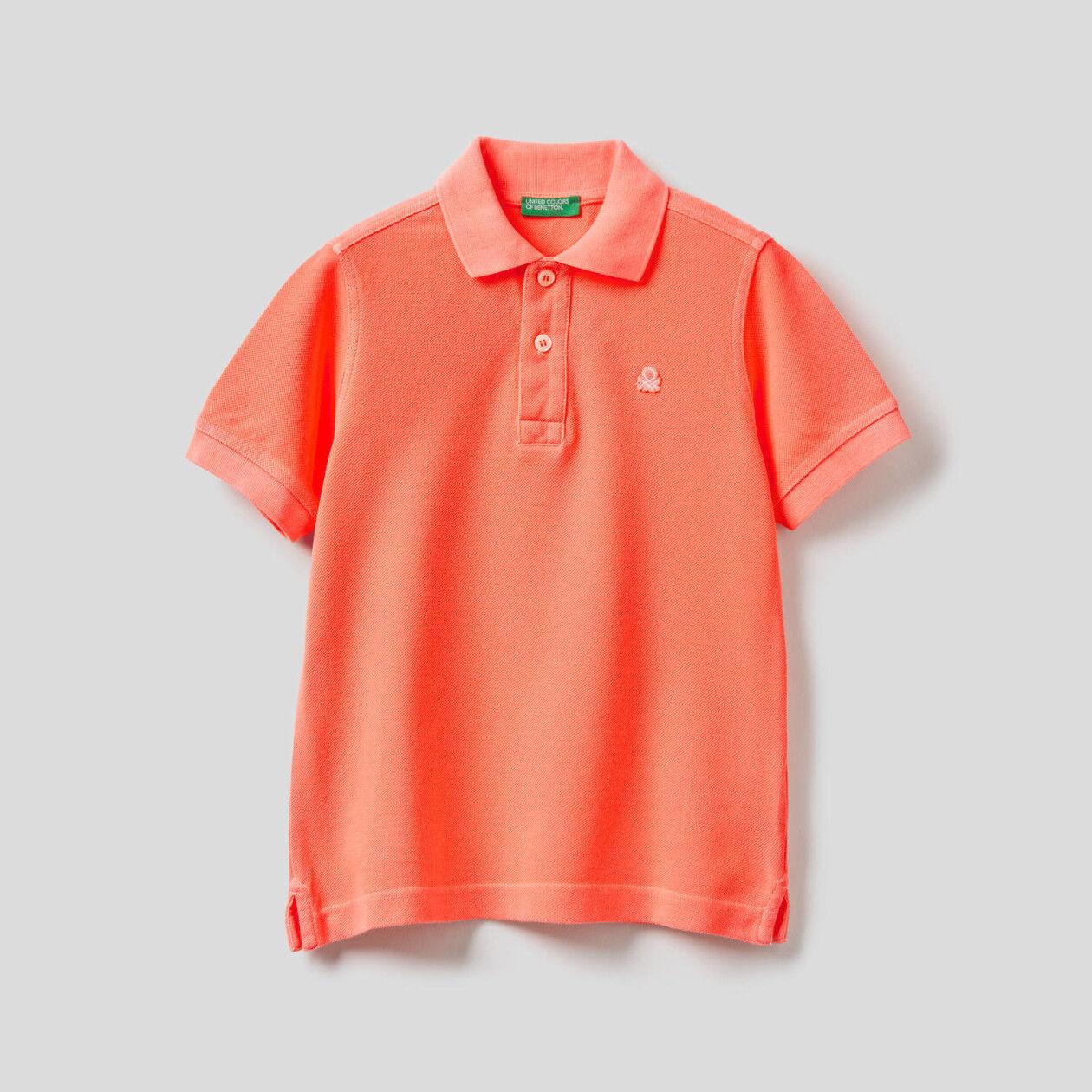 Polo in 100% neon cotton